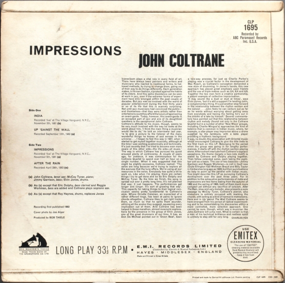 John Coltrane Impressions 1963 Londonjazzcollector