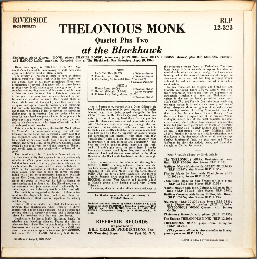 Monk Live At The Blackhawk 1960 Londonjazzcollector
