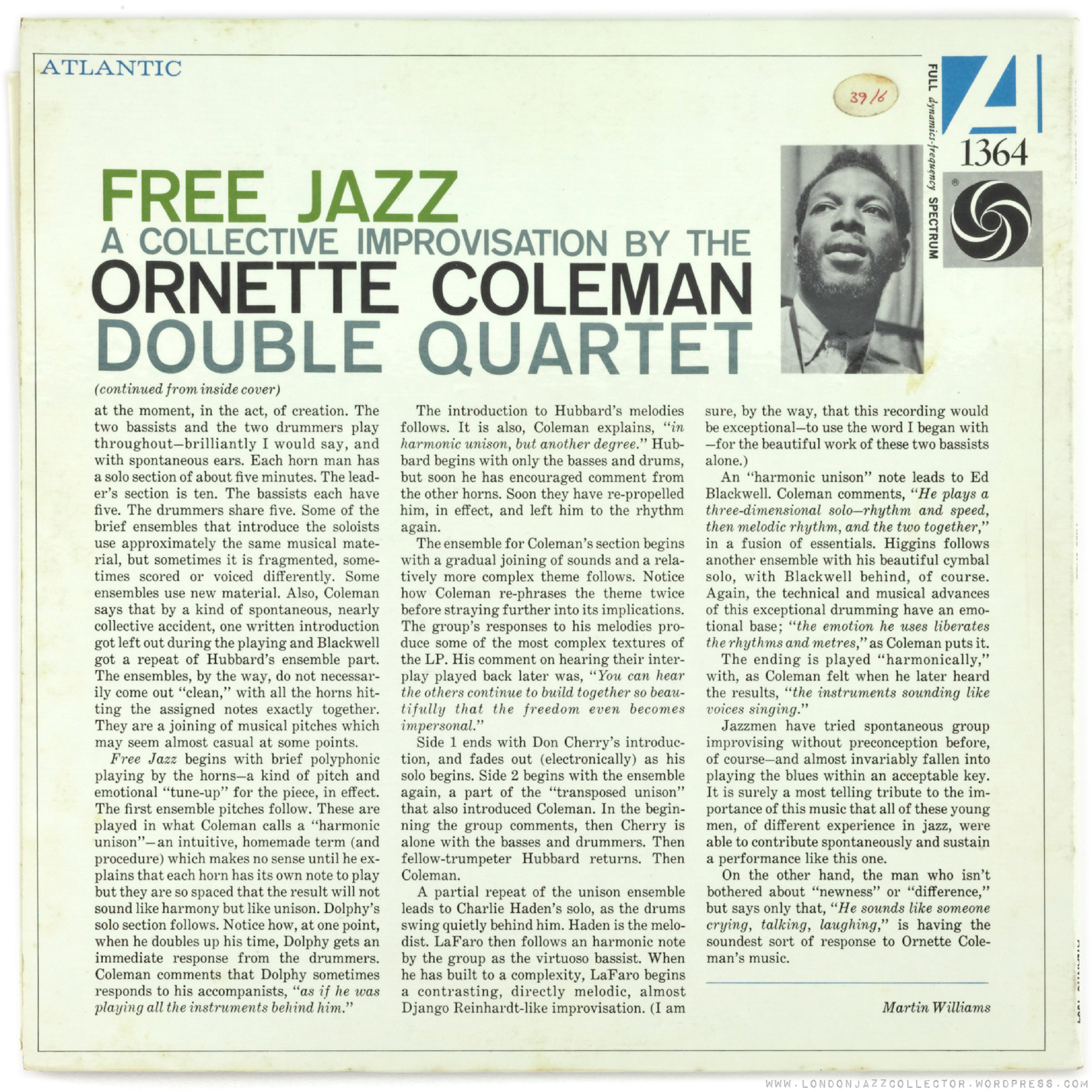 ornette coleman paper An academic thesis exploring the evolution of john coltrane's avant garde jazz style by close analysis of four recordings of 'my favorite things' between 1960 and 1965.