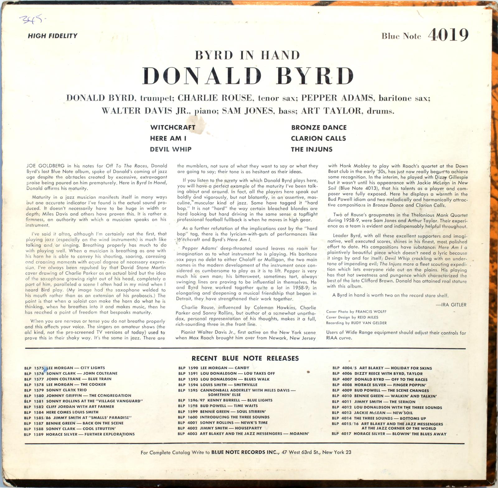 Donald Byrd Byrd In Hand 1959 Londonjazzcollector