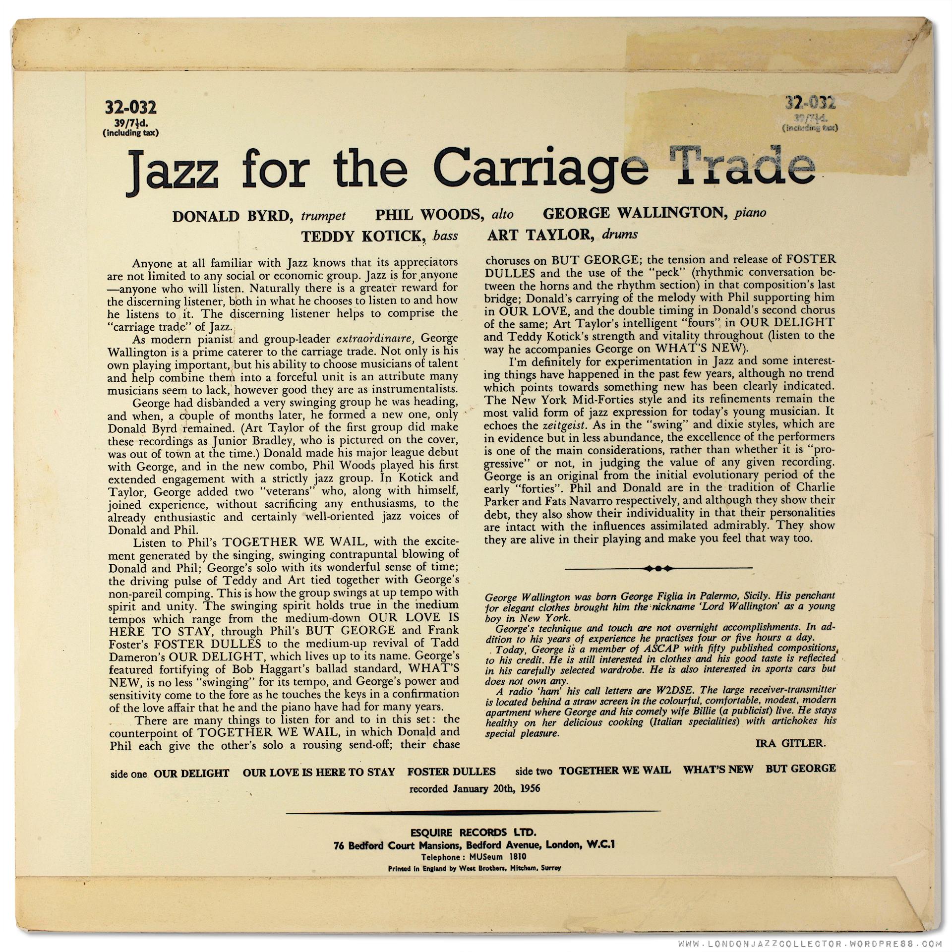 George Wallington: Jazz for the Carriage Trade (1956) Prestige ...