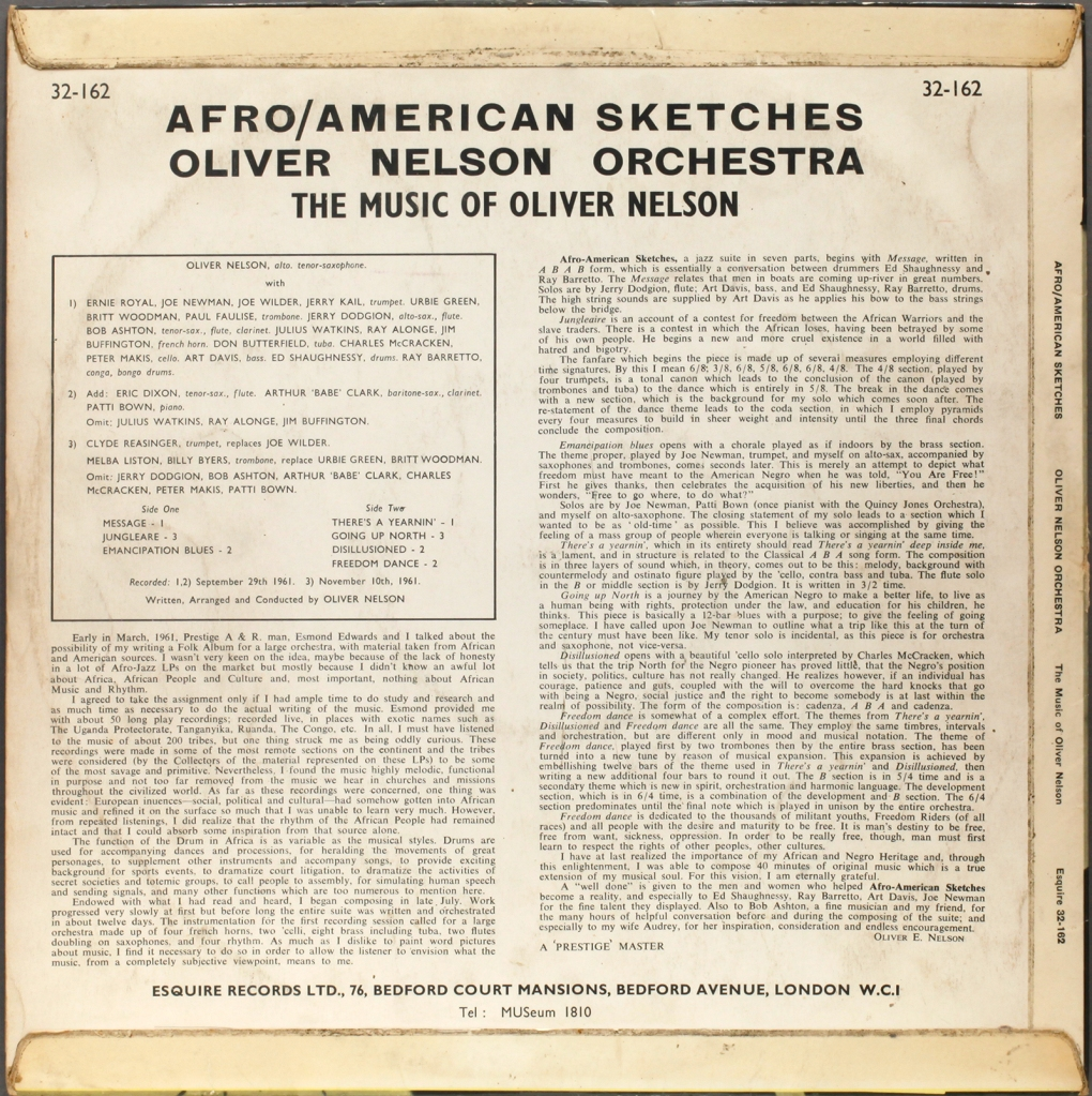 Oliver Nelson Afro American Sketches 1961