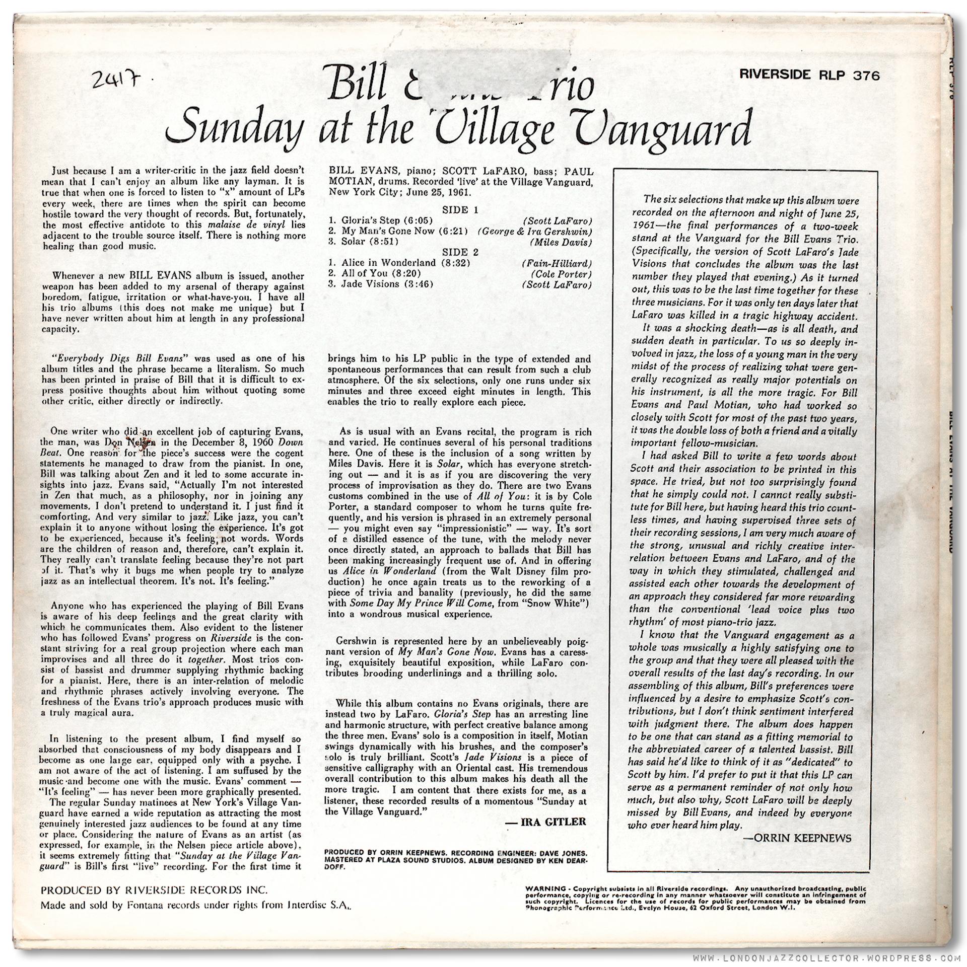Bill Evans Trio Sunday At The Village Vanguard 1961