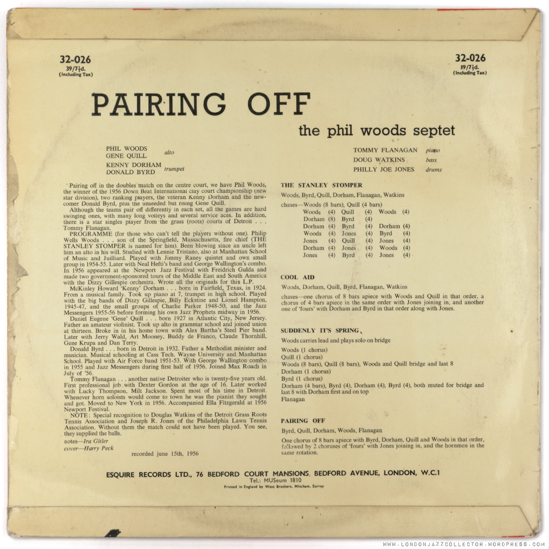 """Phil Woods Septet """"Pairing Off"""" (1956) Esquire 