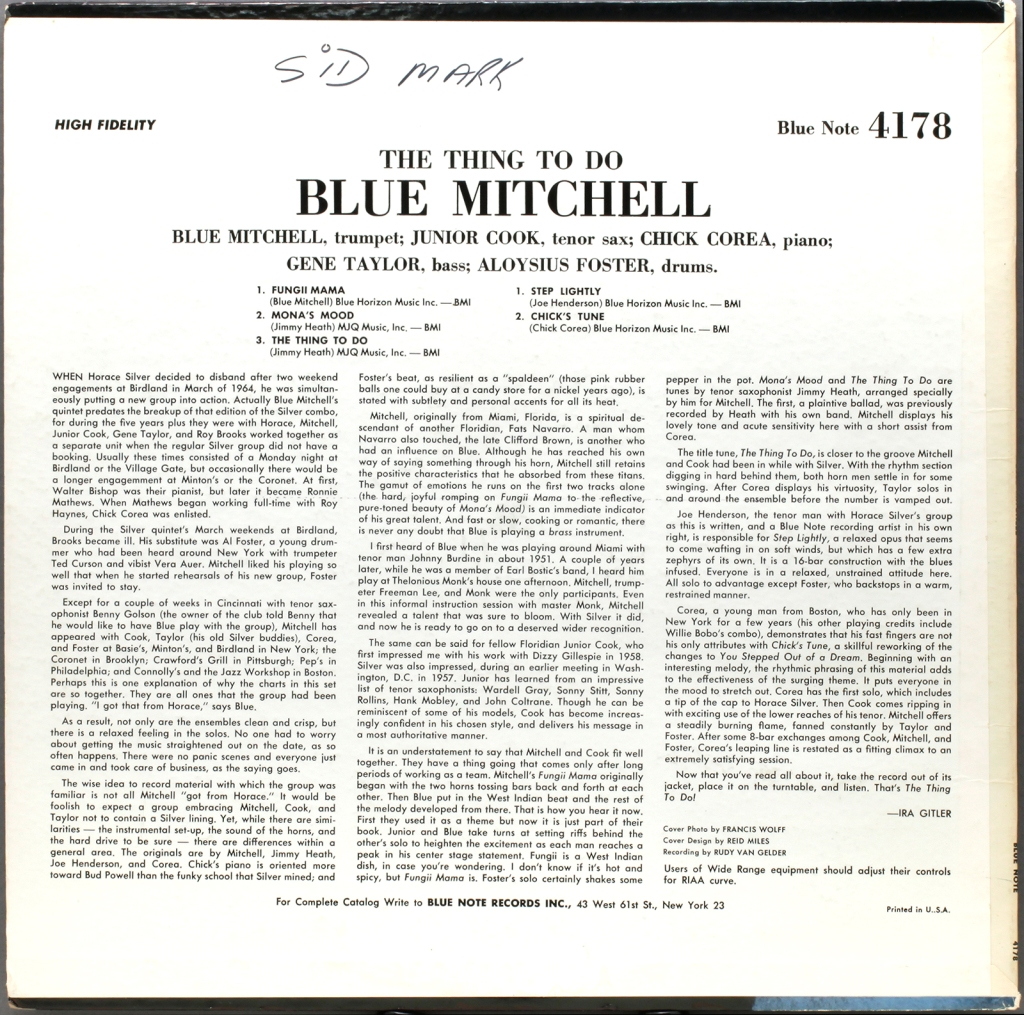 Blue Mitchell The Thing To Do 1964 Londonjazzcollector