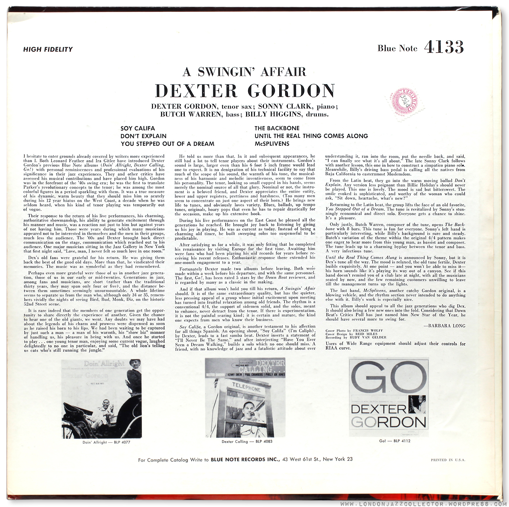 Dexter Gordon A Swinging Affair 1962 Londonjazzcollector