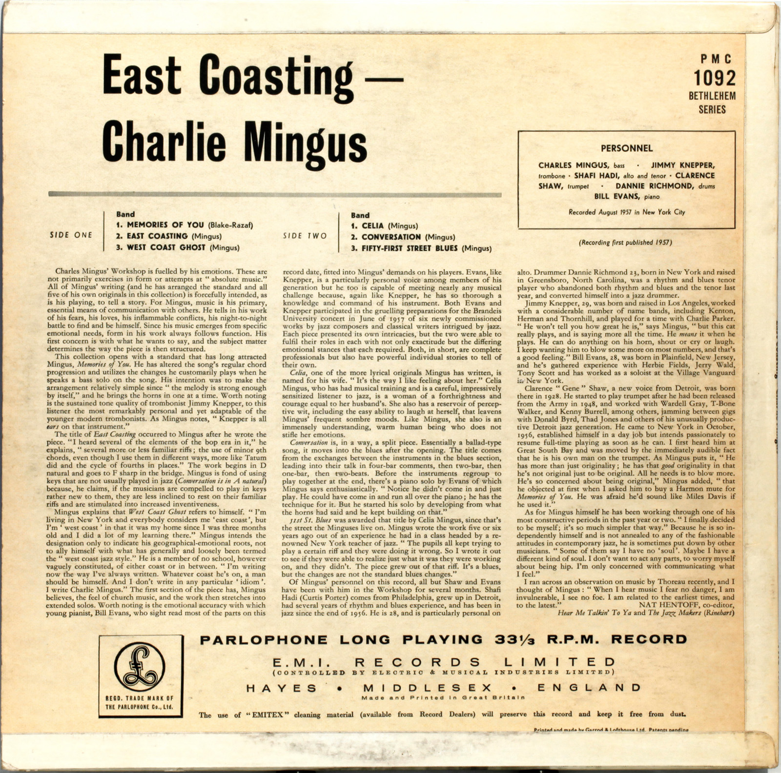 Charles Mingus East Coasting 1957 Londonjazzcollector