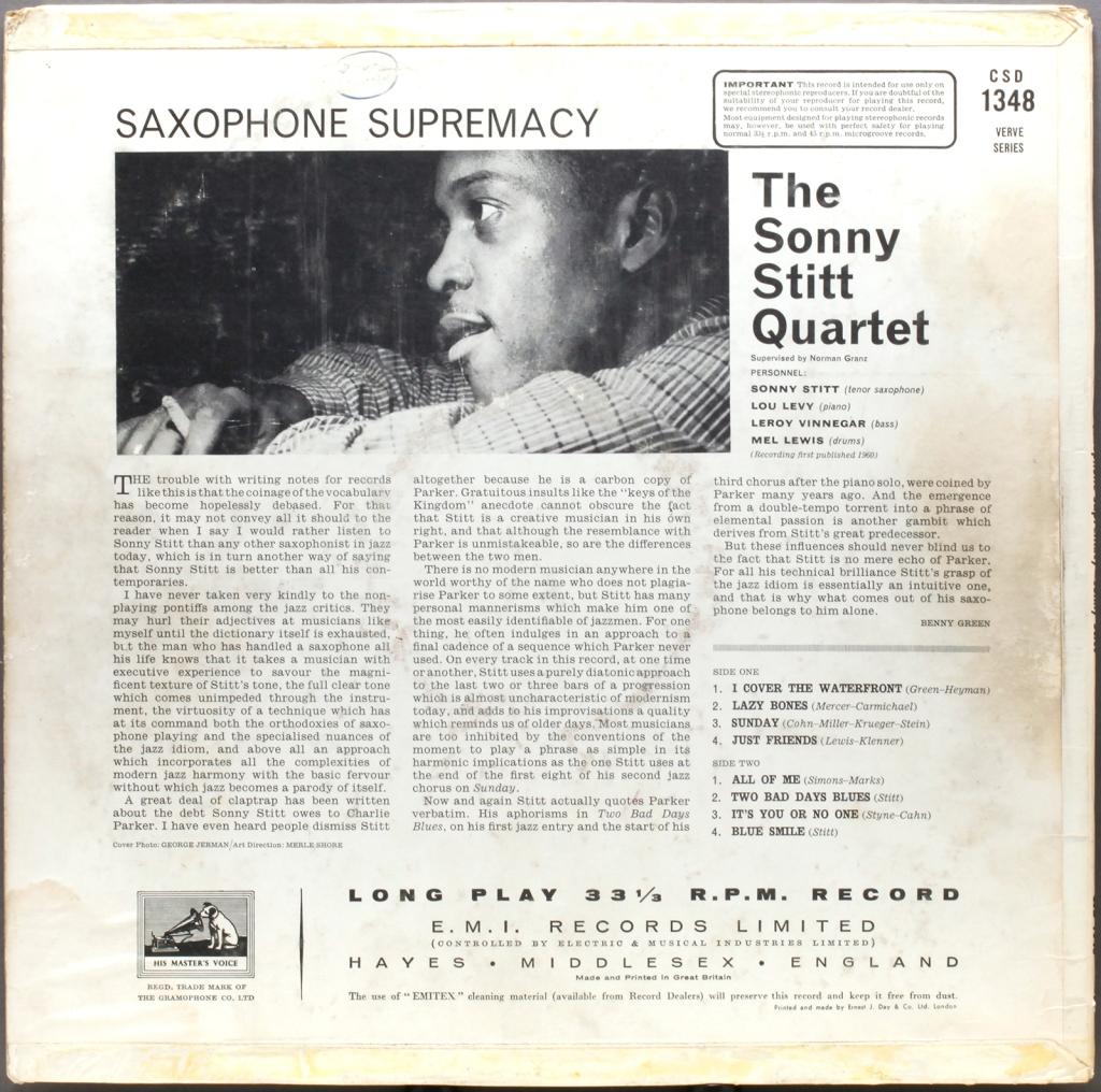 Sonny Stitt Saxophone Supremacy 1960 Londonjazzcollector