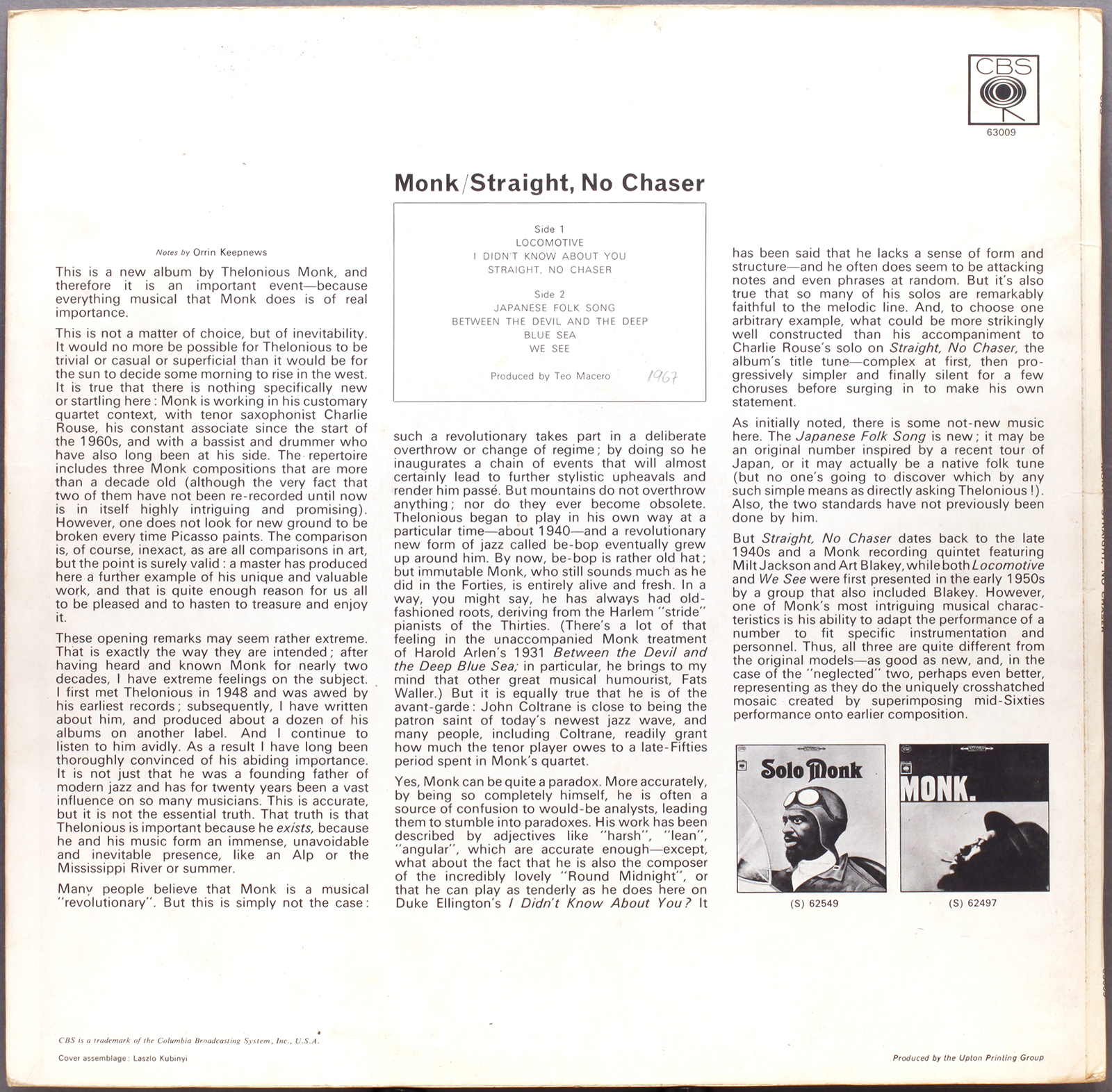 Thelonious Monk Straight No Chaser 1967