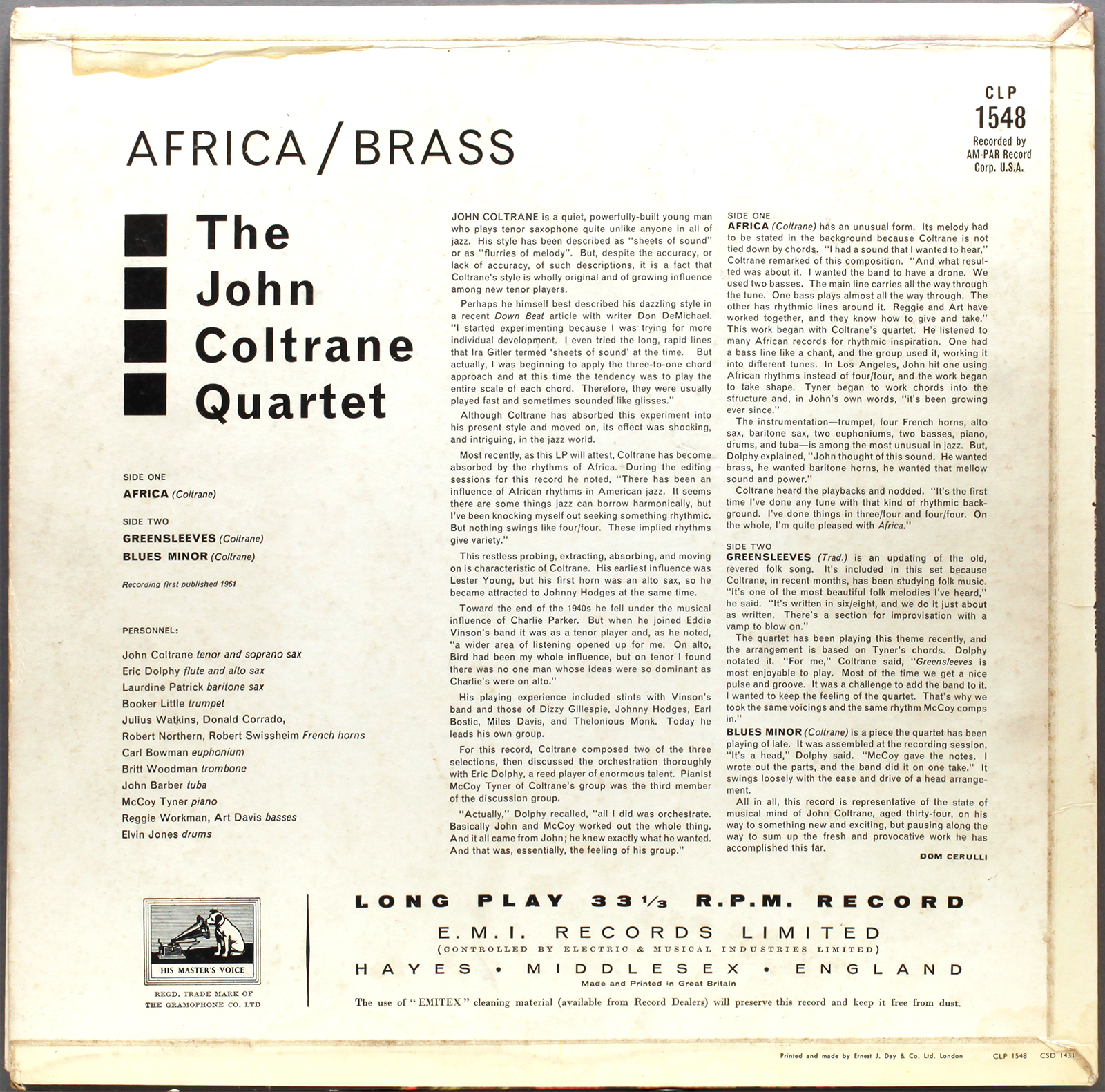 John Coltrane Africa Brass 1961 Hmv Londonjazzcollector