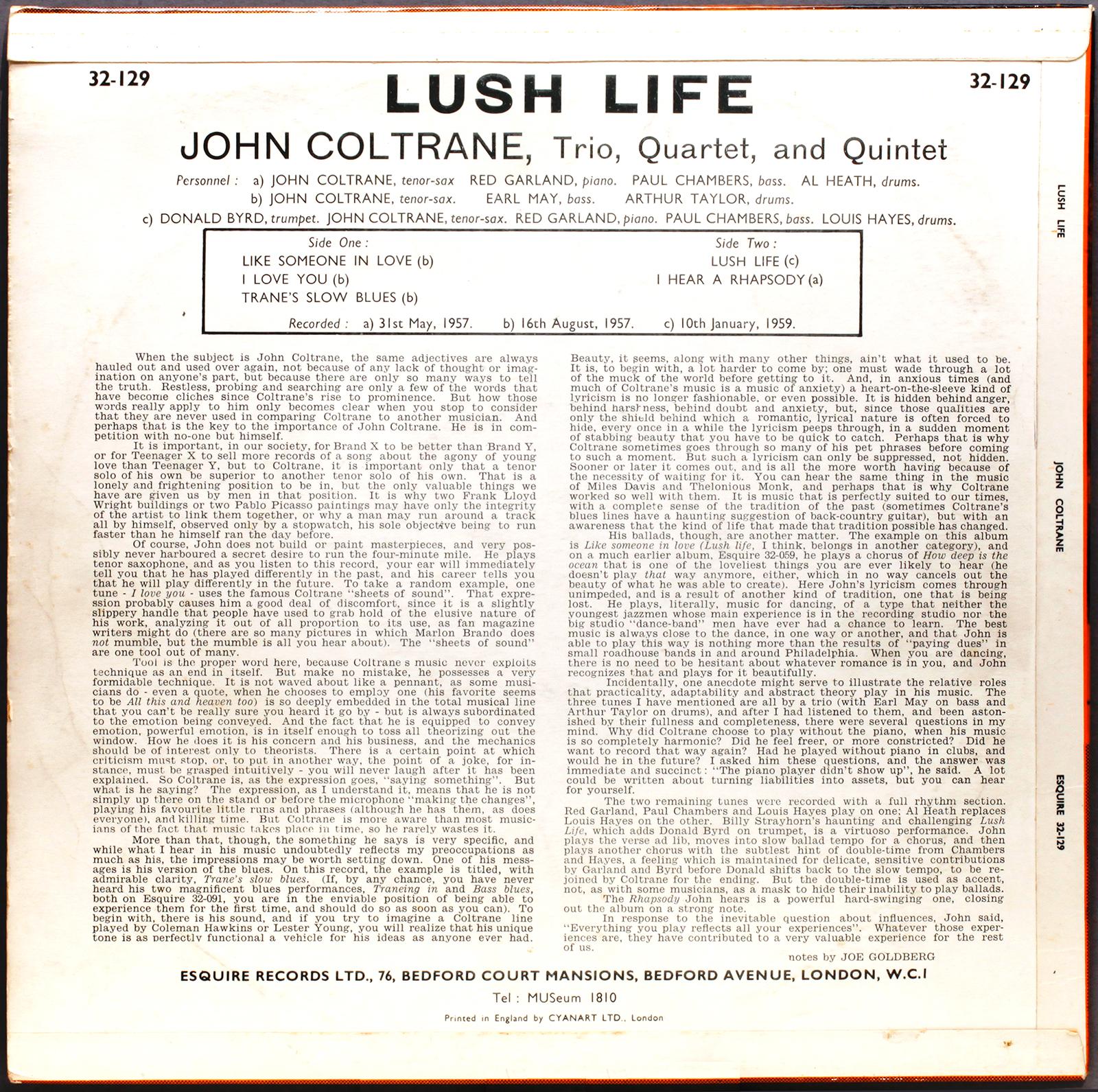 John Coltrane Lush Life 1958 Esquire Londonjazzcollector