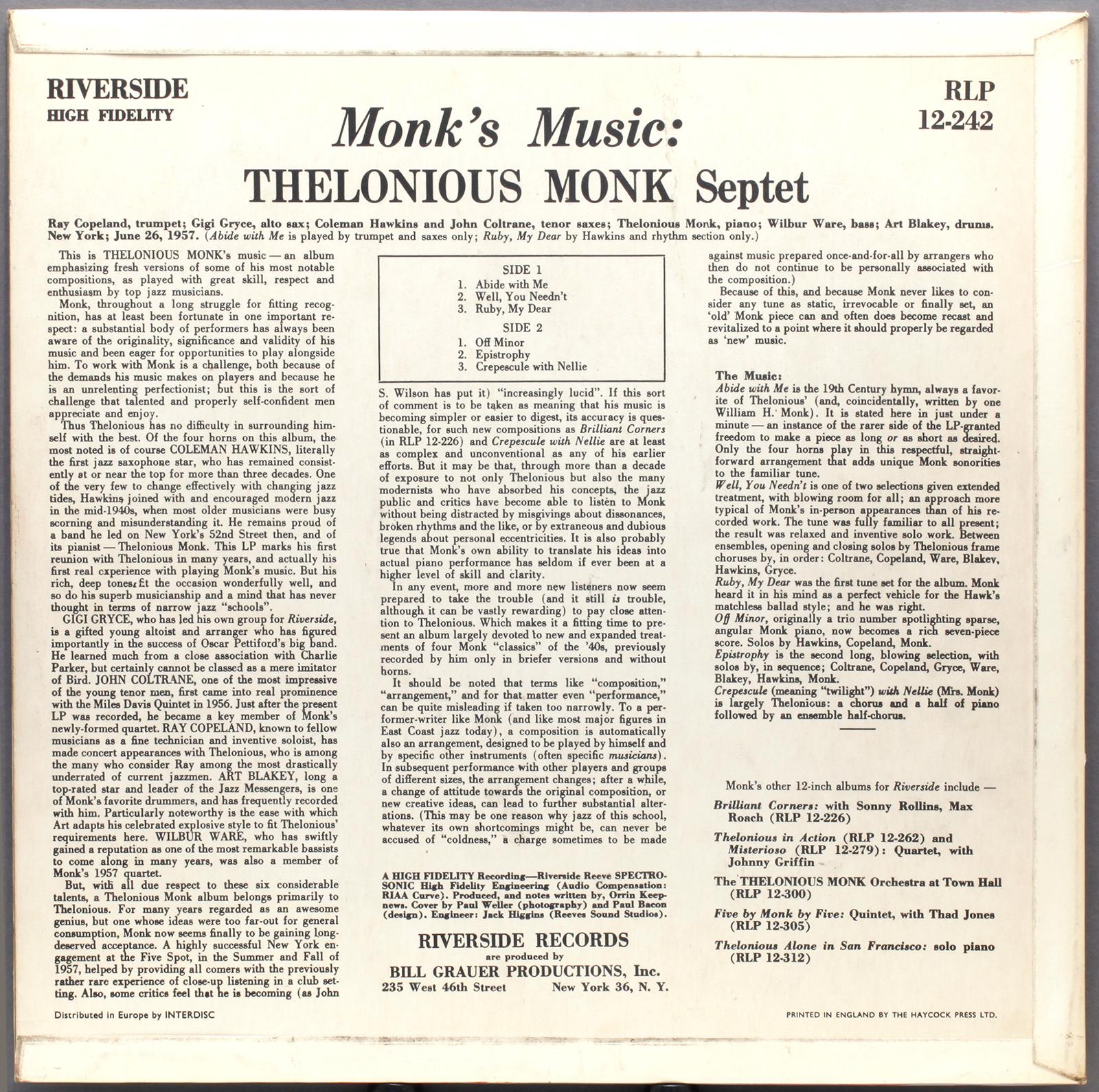 Thelonious Monk Quintet Thelonious Monk Quintet