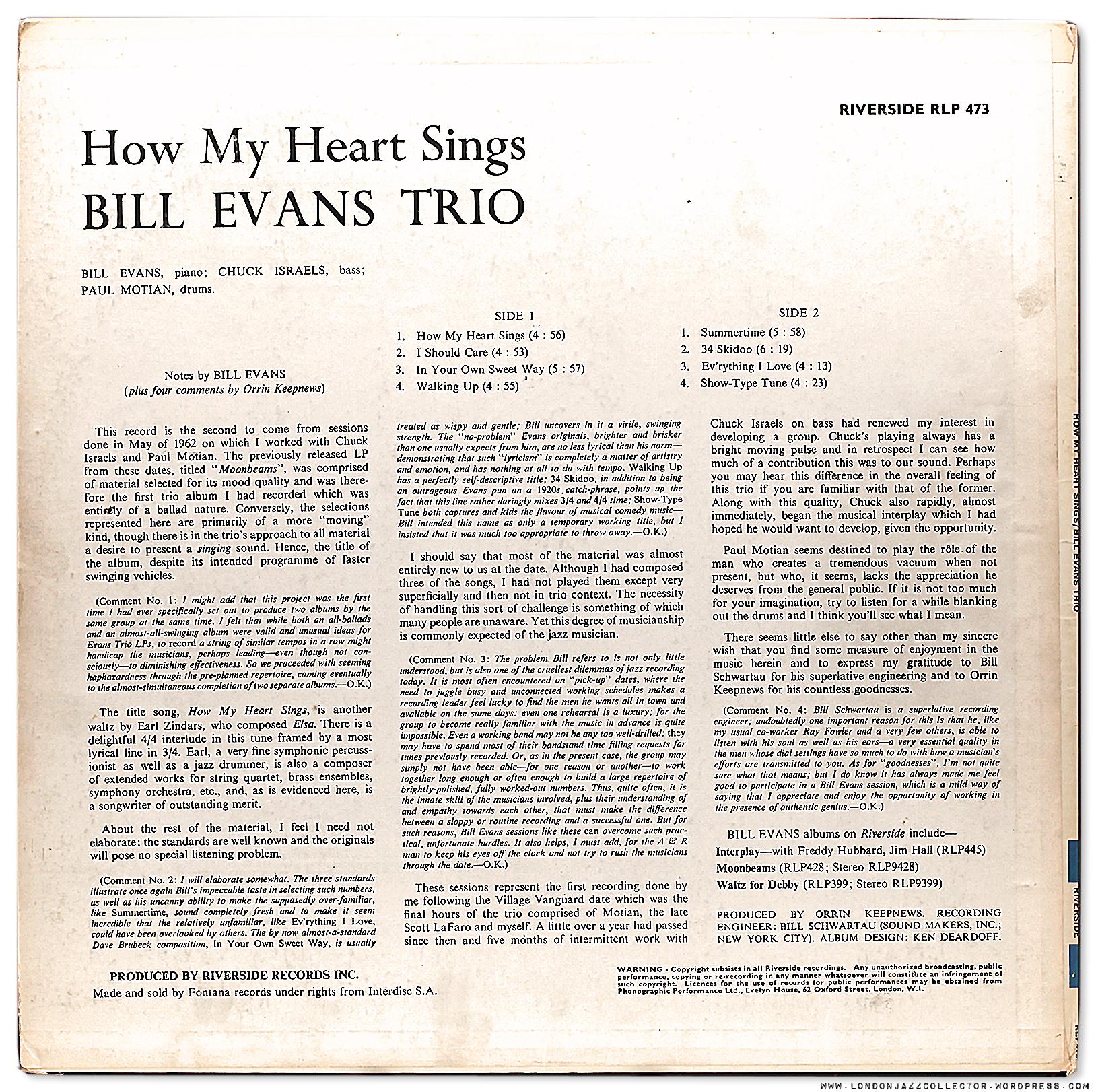 Bill Evans: How My Heart Sings! (1962) Riverside
