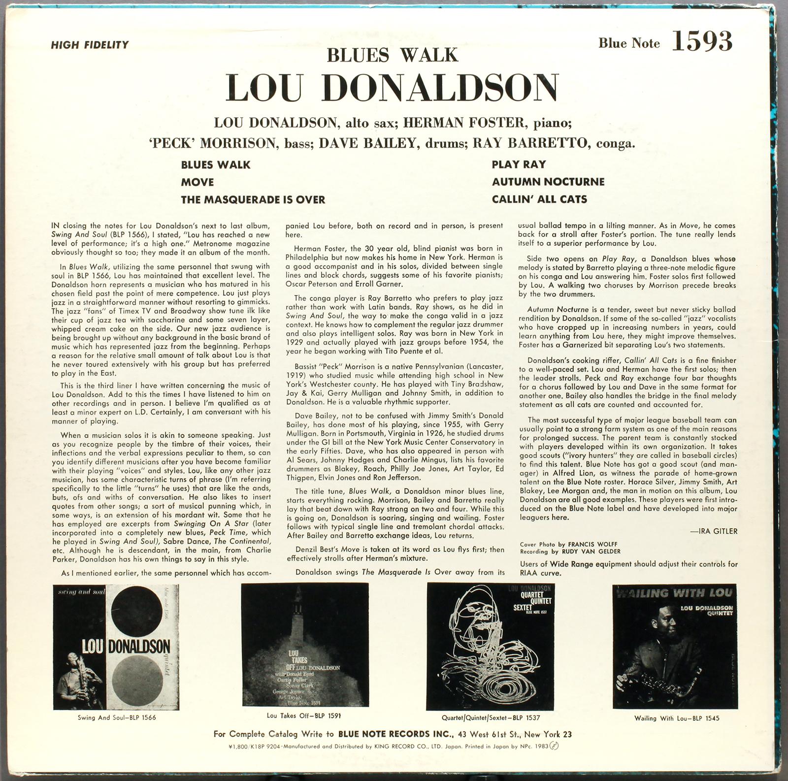 Lou Donaldson Blues Walk 1958 King Jp Londonjazzcollector