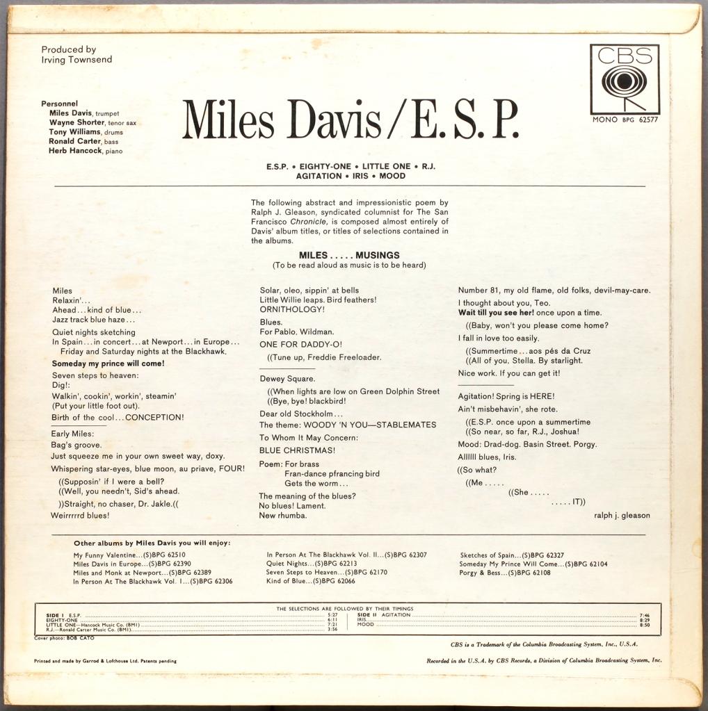 Miles Davis E S P 1965 Cbs Londonjazzcollector