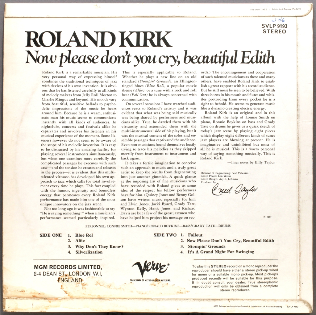 Roland Kirk Now Please Don T You Cry Beautiful Edith