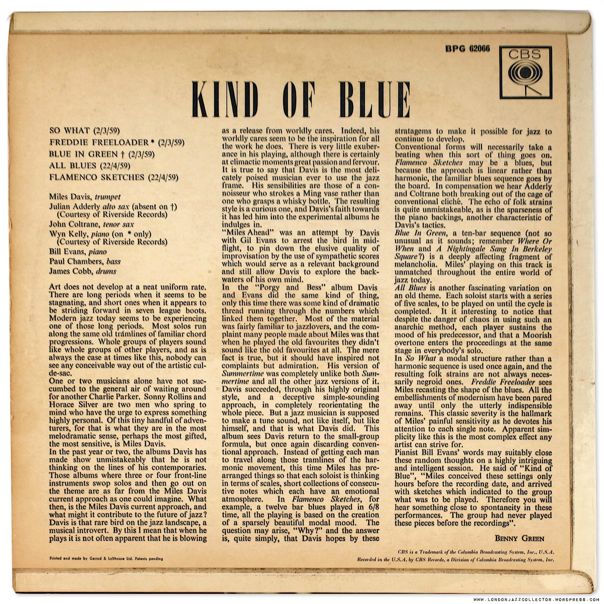 Miles Davis Kind Of Blue Uk Shootout Fontana 1st Vs Cbs
