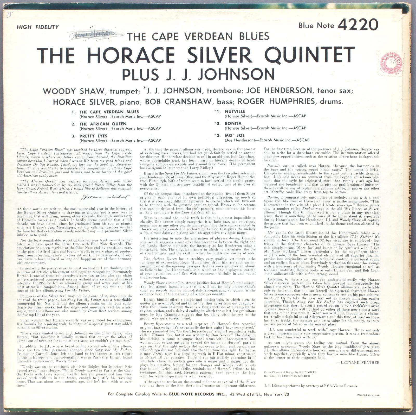 Horace Silver The Cape Verdean Blues 1965 Blue Note