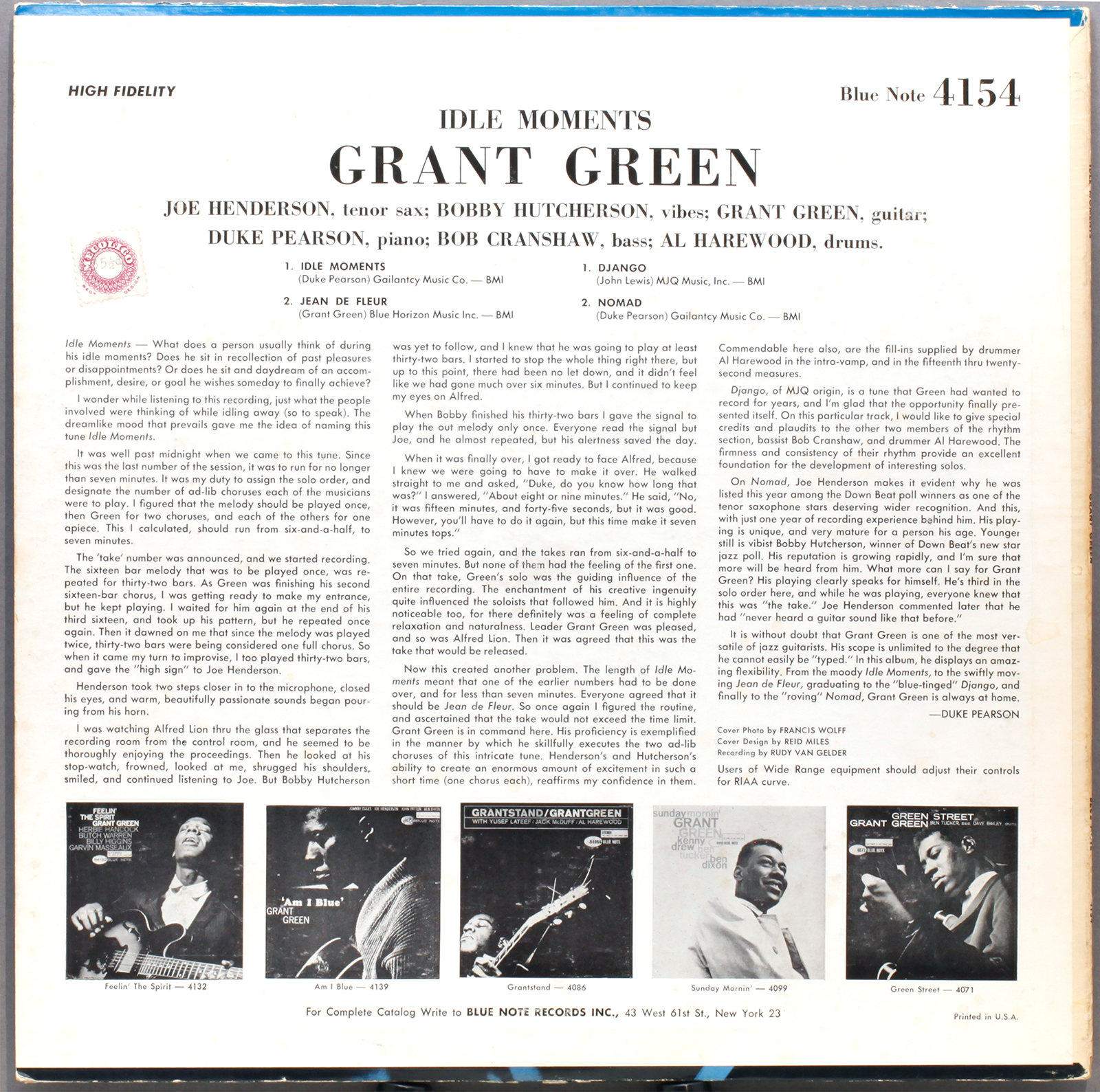 Grant Green Idle Moments 1963 Blue Note Mono