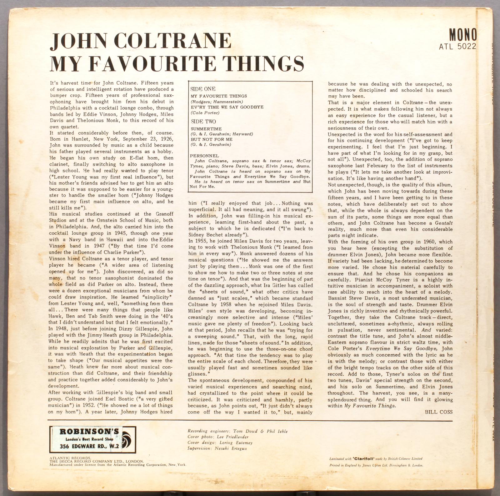 worksheet My Favorite Things Worksheet john coltrane my favourite things 1960 atlantic uk atl5022 back 1600