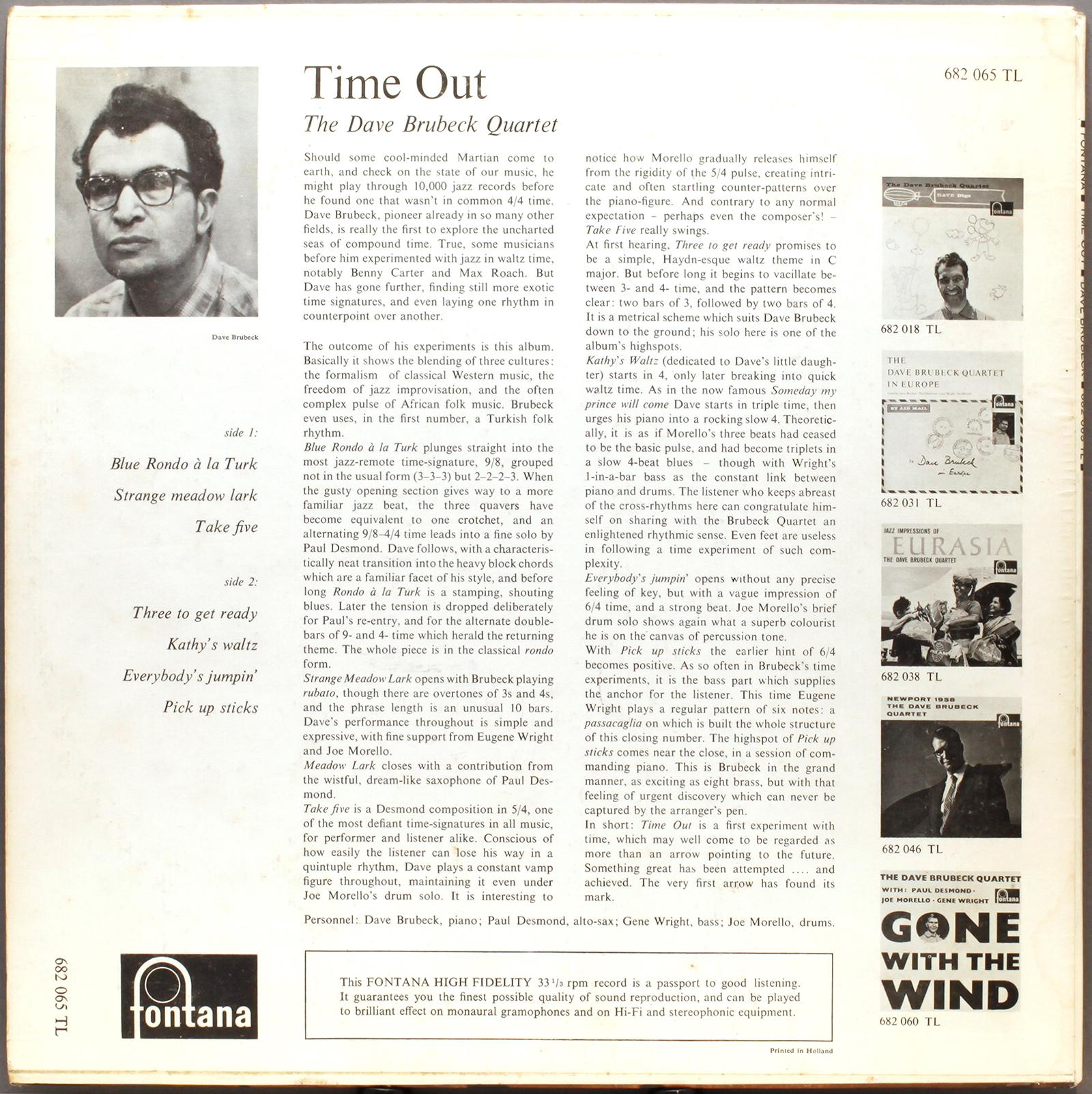 Dave Brubeck Time Out 1959 Fontana Londonjazzcollector