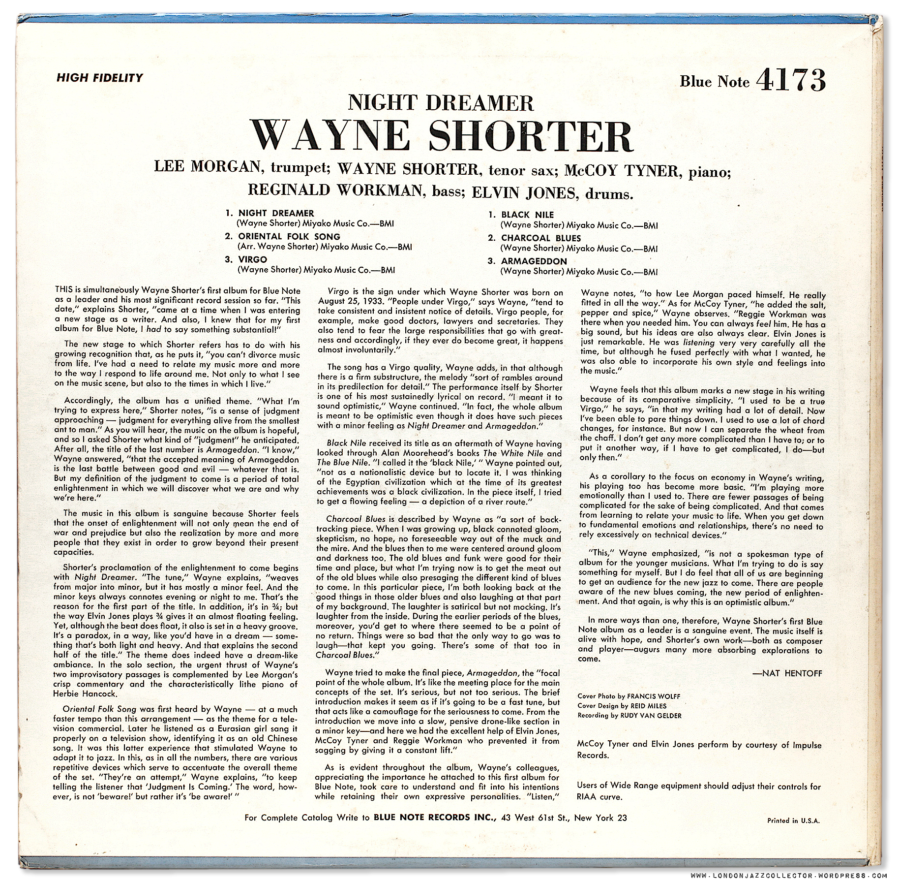 Wayne Shorter Night Dreamer 1964 Blue Note