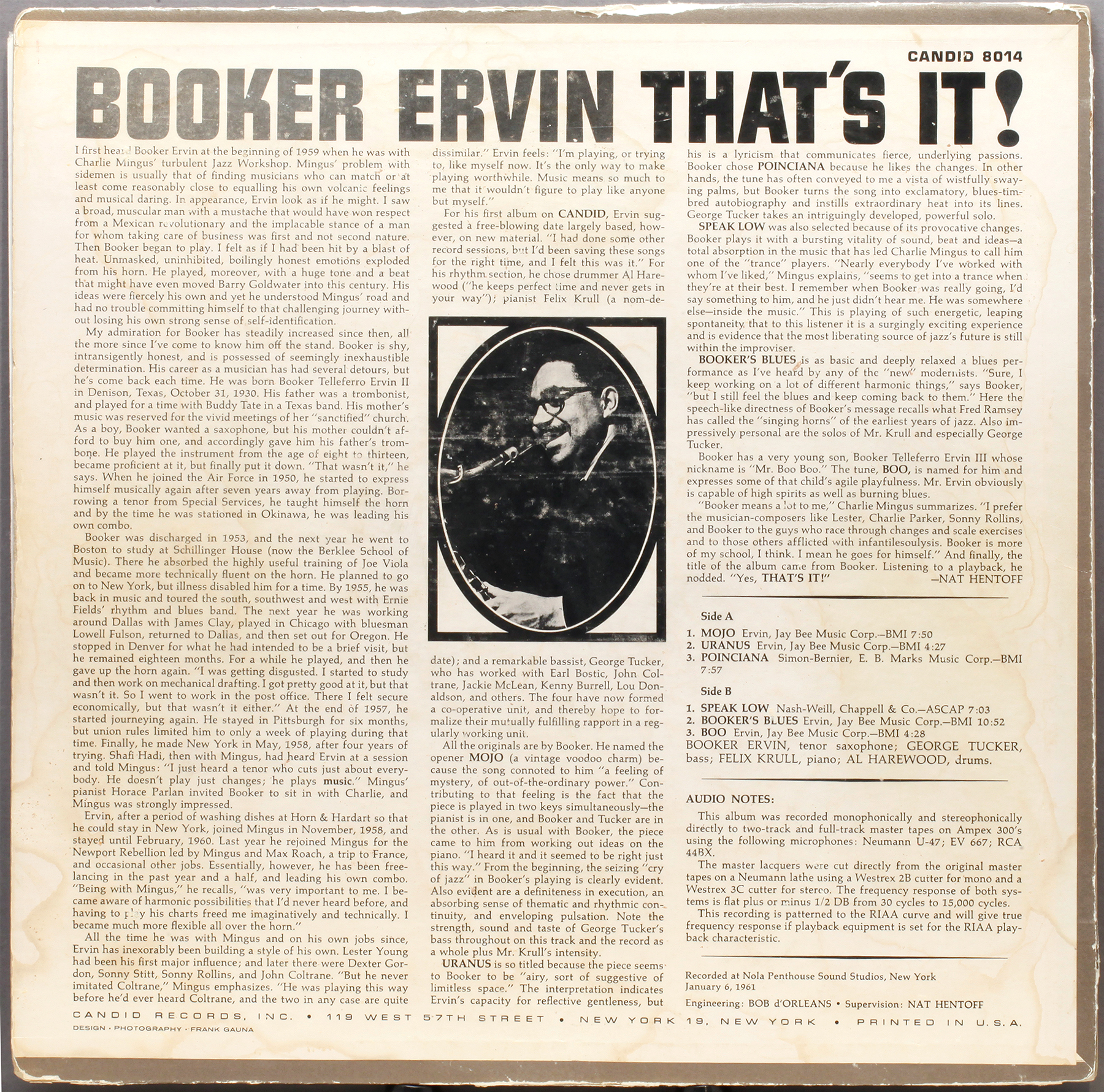Booker Ervin That S It 1961 Candid Londonjazzcollector