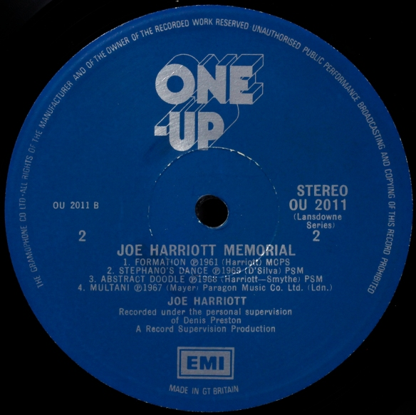 Joe Harriott One Up label 1000