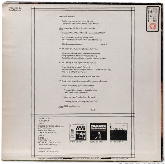 Miles Davis: Sorcerer (1967) Columbia | LondonJazzCollector