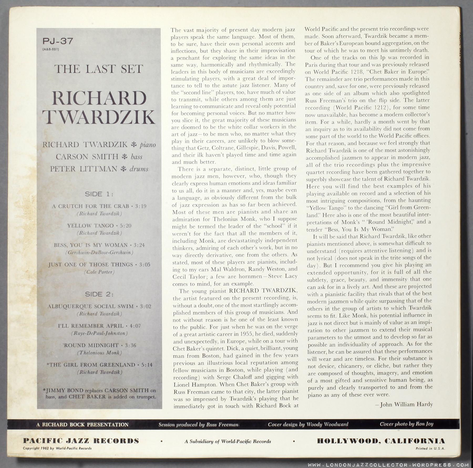 Dick Twardzik* Richard Twardzik·/ Russ Freeman - The Richard Twardzik & Russ Freeman Trios