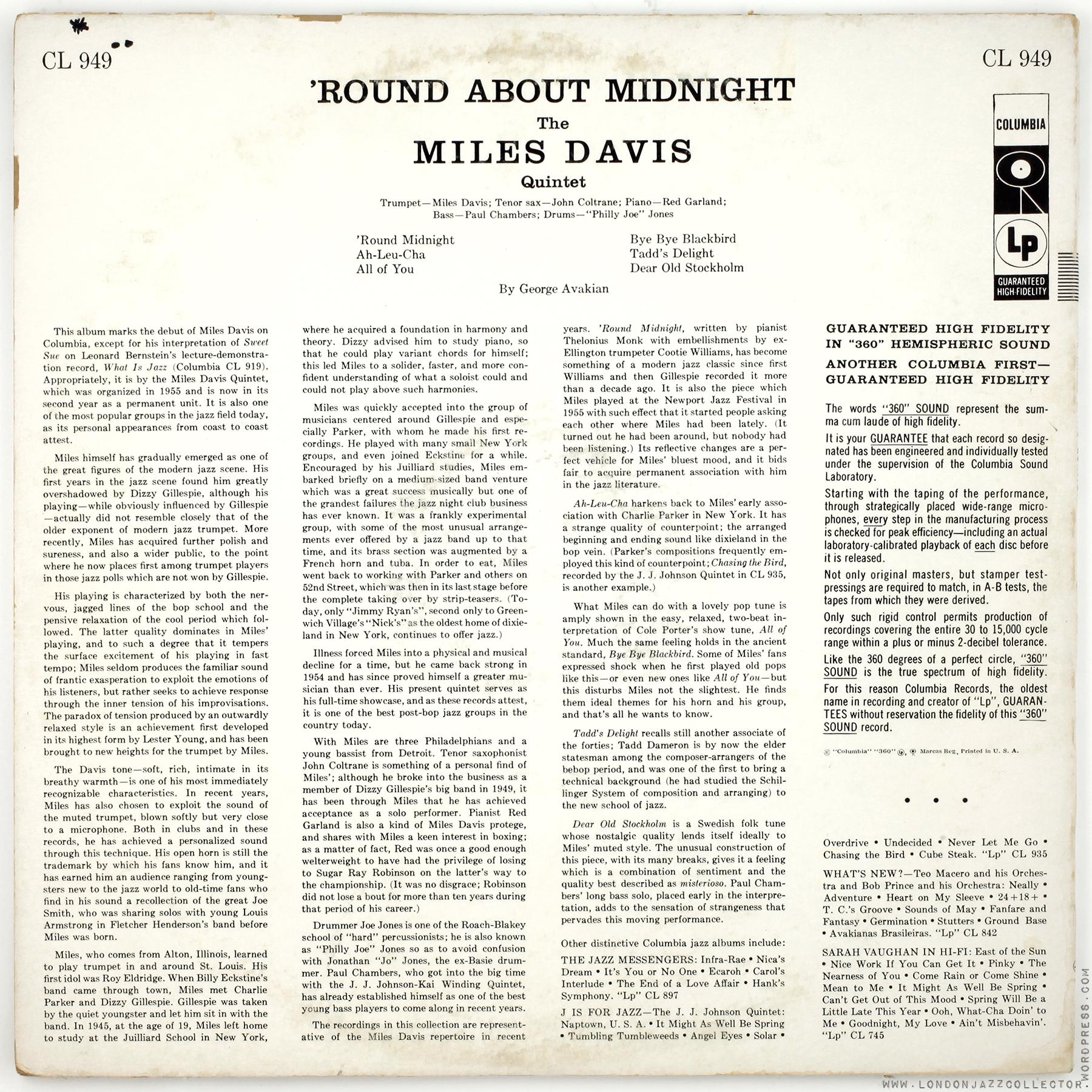 Miles Davis Roundabout Back Cover 1800 Ljc