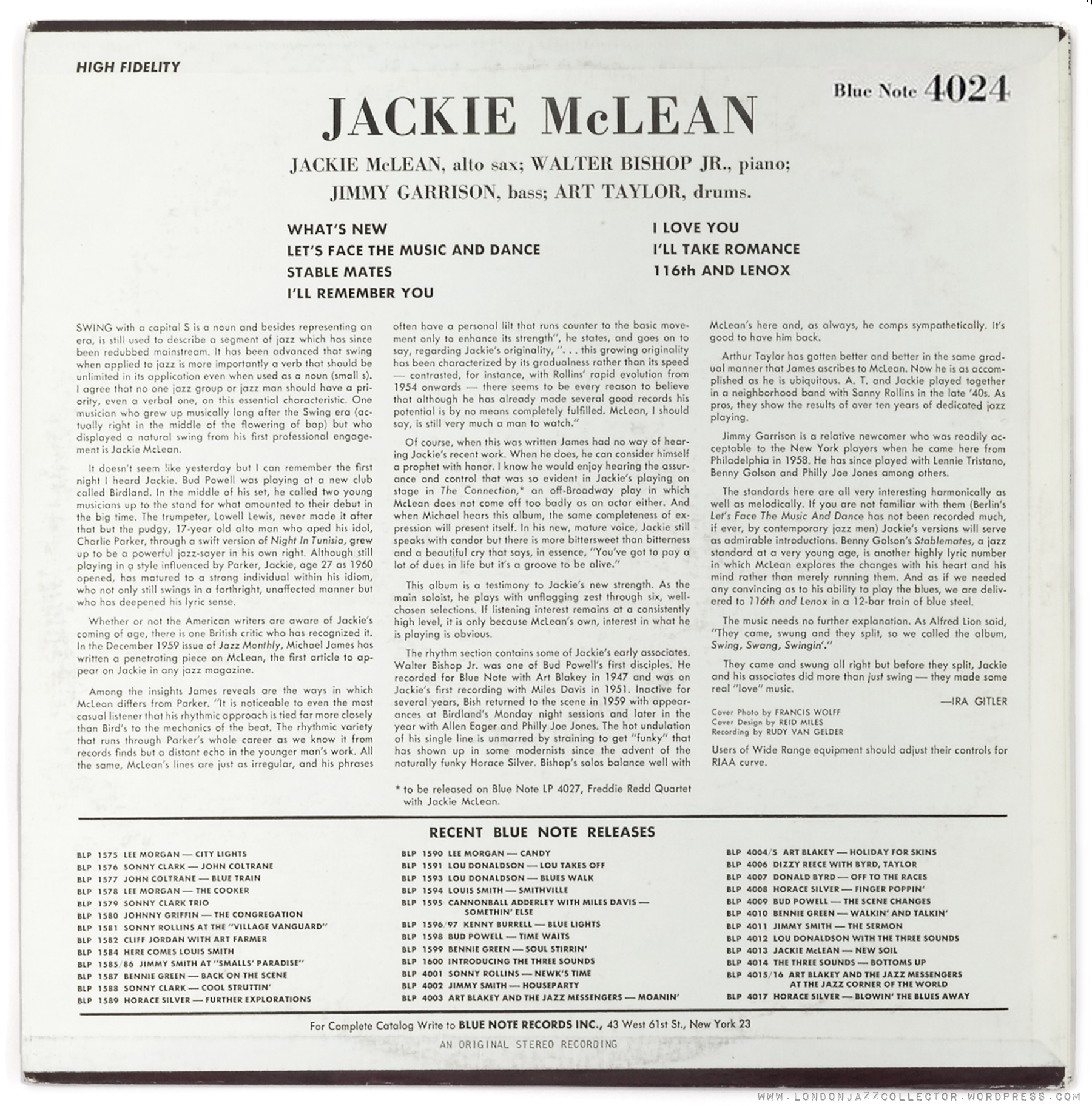 Jackie McLean Capuchin Swing
