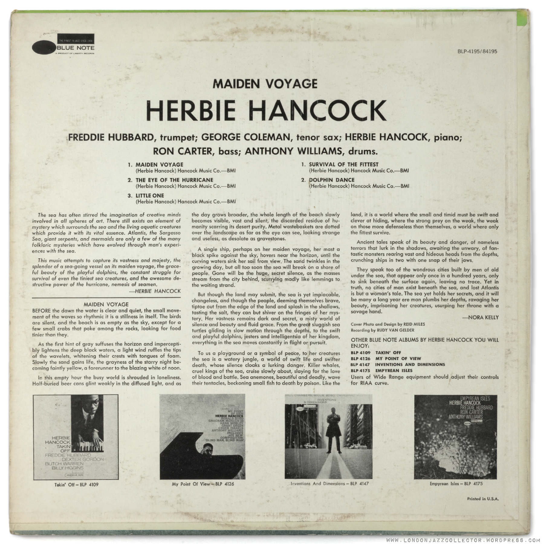 herbie hancocks maiden voyage Find album credit information for maiden voyage - herbie hancock on allmusic.