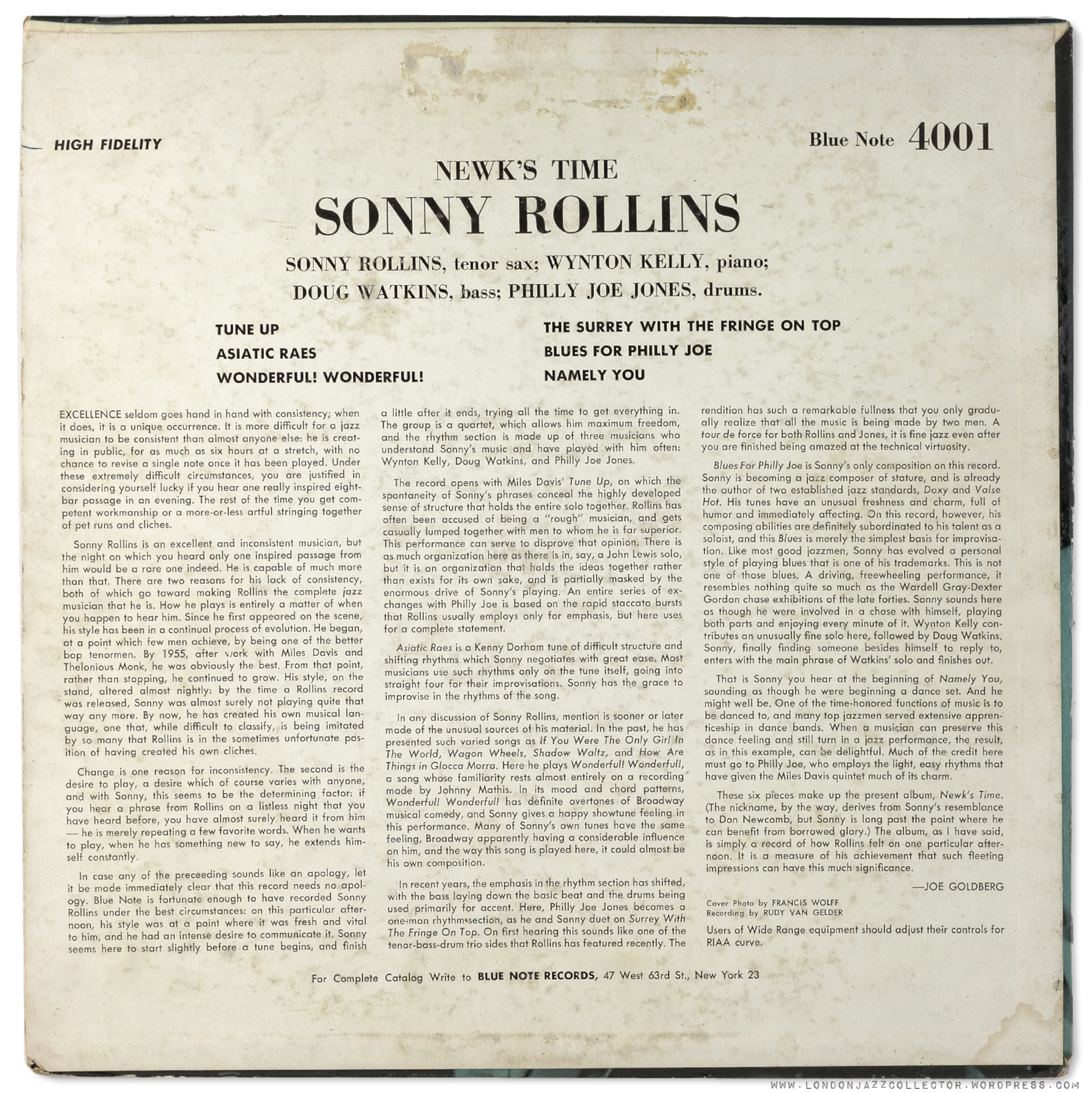 Sonny Rollins 4001 Newk S Time Goes Stereo