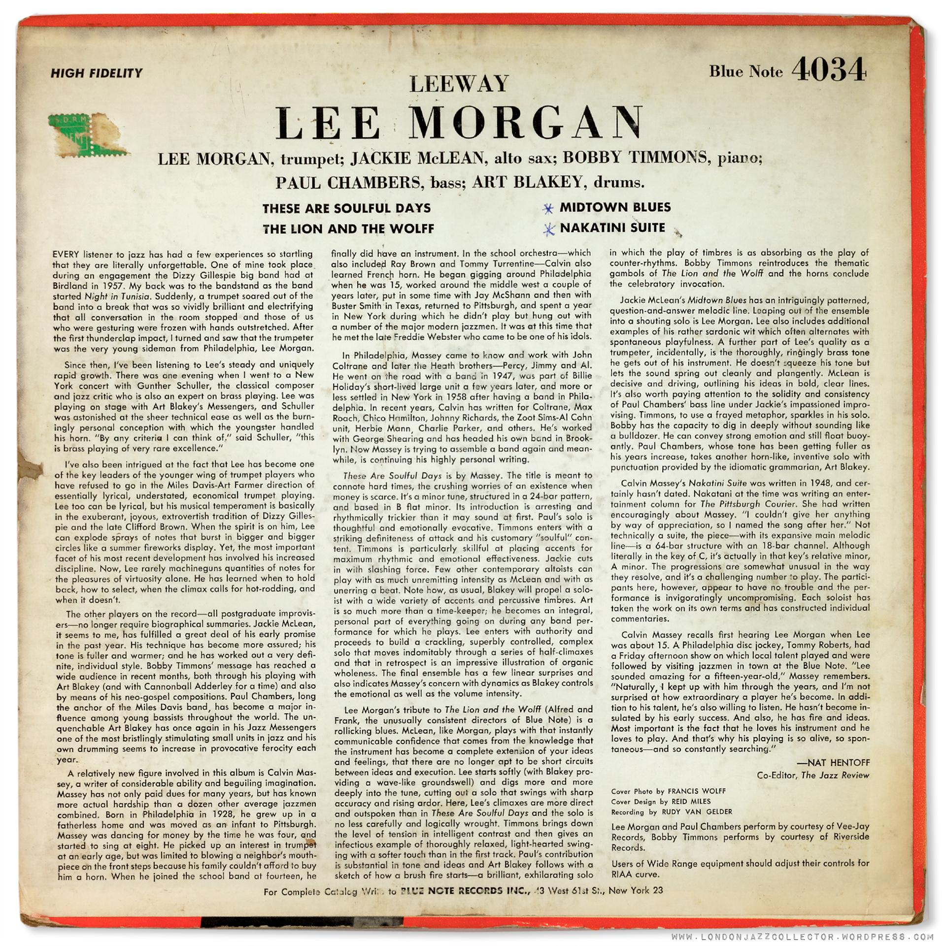 4034 Lee Morgan Lee Way Bk 1920 Ljc Londonjazzcollector
