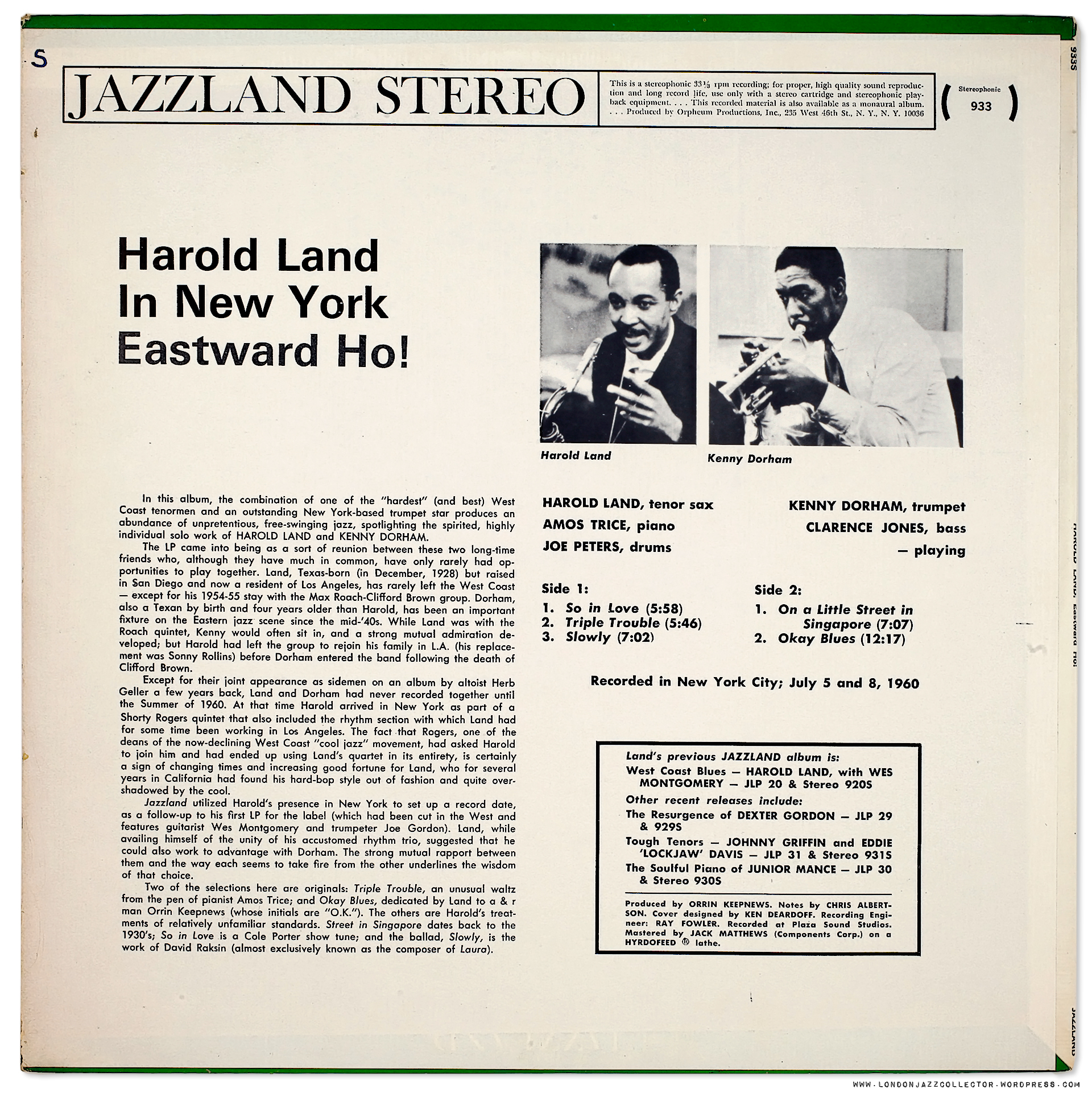 Harold land eastward ho 1960 jazzlandorpheum collectors corner robcynllc Gallery