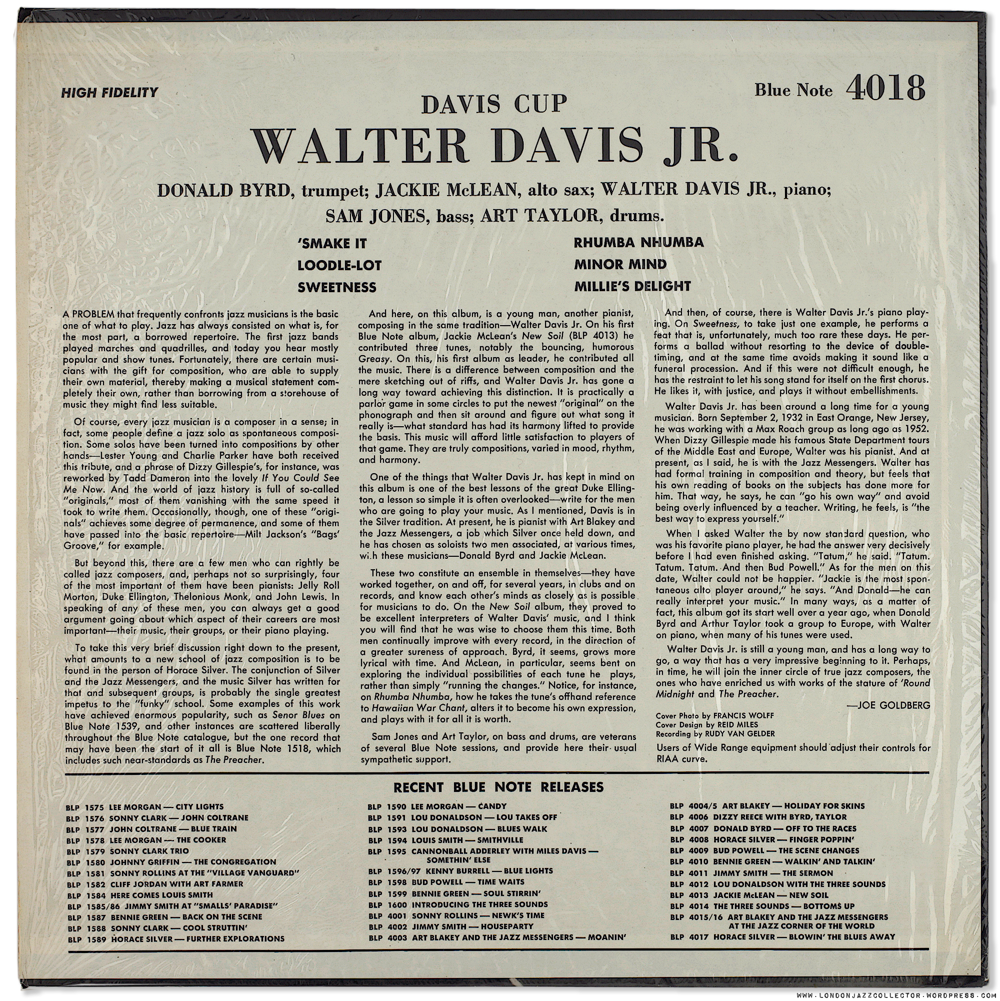 Walter Davis Jr Davis Cup 1959 Blue Note UA
